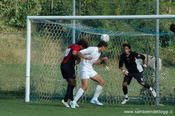 Il gol del vantaggio del Sansovino, siglato da Burzigotti
